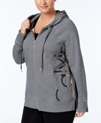 Calvin Klein Performance Plus Size Metallic Zip Hoodie Heather Grey Rose Gold