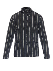 Tomorrowland Moss Striped Wool Blazer