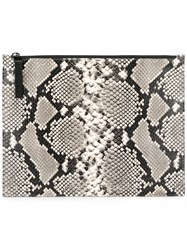 Maison Martin Margiela Python Zip Clutch Bag Grey
