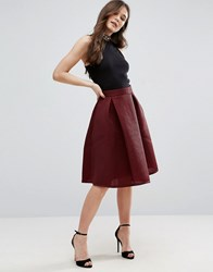 Qed London Prom Skirt Oxblood Red