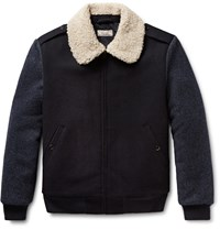 J.Crew Wallace And Barnes Faux Shearling Trimmed Wool Bomber Jacket Midnight Blue