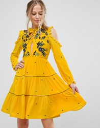 Frock And Frill Cold Shoulder Velvet Smock Dress With Floral Embroidery Yellow