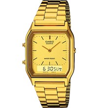 Casio Aq 230Ga 9Dmqyes Gold Toned Stainless Steel Watch Silver