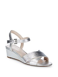 Nine West Lucy Leather Wedge Sandals Argento