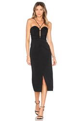 Nicholas Bandage Plunge Rouleau Dress Black