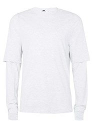 Topman Light Grey Oversized Layered Long Sleeve T Shirt