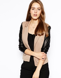 Ax Paris Blazer With Wet Look Sleeves Khaki