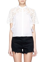 Giamba Floral Embroidery Lace Frill Cotton Shirt White
