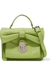 Red Valentino Redvalentino Bow Embellished Leather Shoulder Bag Lime Green