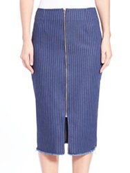 N Nicholas Pinstripe Pencil Skirt Indigo Stripe