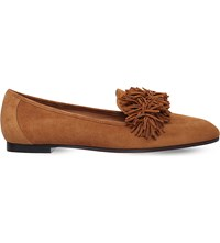 Aquazzura Wild Fringed Suede Loafers Brown