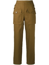 Chloe Sailor Button Cargo Trousers Women Cotton Linen Flax 34 Brown