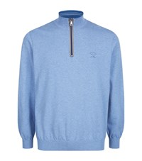 Paul And Shark Quarter Zip Suede Trimmed Sweatshirt Male Blue