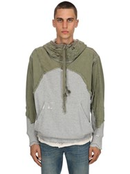 Greg Lauren Army Tent Patchwork Sweatshirt Hoodie Green Grey