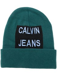 Calvin Klein Jeans Embroidered Logo Beanie Green