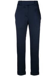 Haider Ackermann Cropped Tailored Trousers Cotton Acetate Viscose Blue