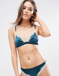 Asos Skye Satin And Lace Triangle Bra Emerald Green