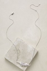 Anthropologie Luminous Feather Pendant Necklace Silver