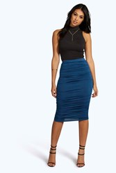 Boohoo Ruched Sides Jersey Midi Skirt Ink