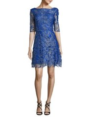 Kay Unger Metallic Floral Lace Dress Cobalt