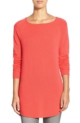 Petite Women's Halogen Shirttail Wool And Cashmere Boatneck Tunic Coral Sugar