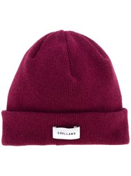 Soulland Ribbed Logo Beanie Wool Red