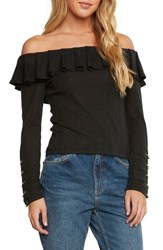Willow And Clay Ribbed Off The Shoulder Top Black