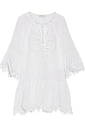 Mariasole Crochet Trimmed Stretch Cotton Gauze Kaftan White