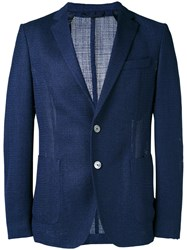 Hugo Boss Fine Knit Blazer Men Silk Polyamide Cupro Virgin Wool 52 Blue