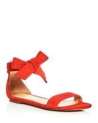 Ivanka Trump Carthe Suede Ankle Tie Sandals Medium Red