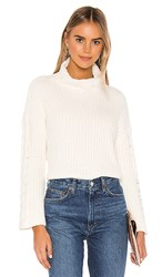 Bella Dahl Cable Sleeve Turtle Neck In Ivory. Winter White
