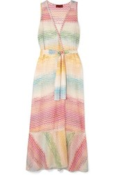 Missoni Crochet Knit Wrap Dress Pink