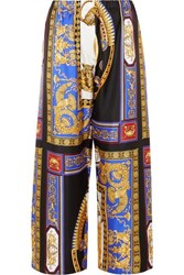 Versace Cropped Printed Silk Twill Wide Leg Pants Black