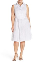 Plus Size Women's London Times Eyelet Fit And Flare Shirtdress