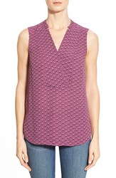 Women's Halogen Notch Detail Sleeveless Blouse Purple Ivory Ornate Dot