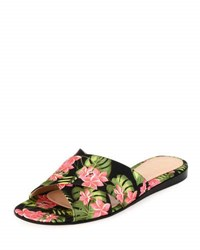 Gianvito Rossi Floral Print Fabric Sandal Slide Red