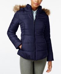 Rampage Faux Fur Trim Hooded Ruched Puffer Coat Only At Macy's