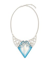 Alexis Bittar Swarovski Crystal And Lucite Necklace Blue Opal