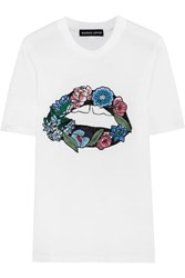 Markus Lupfer Embroidered Cotton Jersey T Shirt White