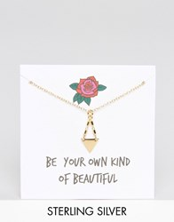 Asos Gold Plated Sterling Silver Mini Triangle Necklace Gold Plated