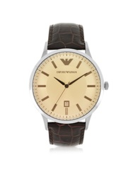 Emporio Armani Classic Stainless Steel Men's Watch W Embossed Leather Strap Brown