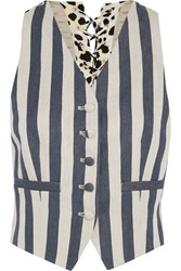 Roberto Cavalli Striped Denim And Printed Silk Crepe Vest Blue