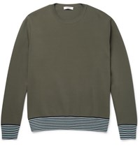 Valentino Stripe Trimmed Stretch Knit Sweatshirt Green