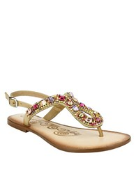 Naughty Monkey Rock On Embellished Leather Thong Sandals Nude