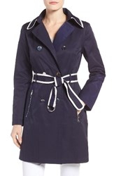 Guess Women's Piped Trench Coat Navy