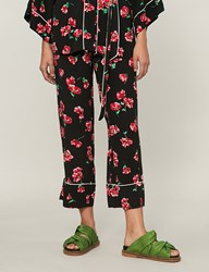 Moandco. Floral Print High Rise Woven Trousers Pink And Black