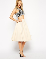 Asos Premium Pleated Midi Skirt In Scuba Cream