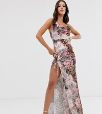 Missguided Tall Cowl Neck Side Split Maxi Dress In Floral And Leopard Mix Print Pink