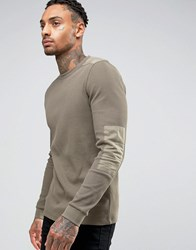 Asos Muscle Long Sleeve T Shirt With Pigment Wash In Waffle Fabric With Military Patches Green