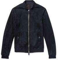 Giorgio Armani Slim Fit Suede Bomber Jacket Midnight Blue
